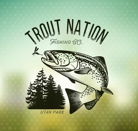 Trout Fishing emblem on blur background. Vector illustration. Ilustração