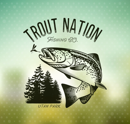 Trout Fishing emblem on blur background. Vector illustration. Vectores