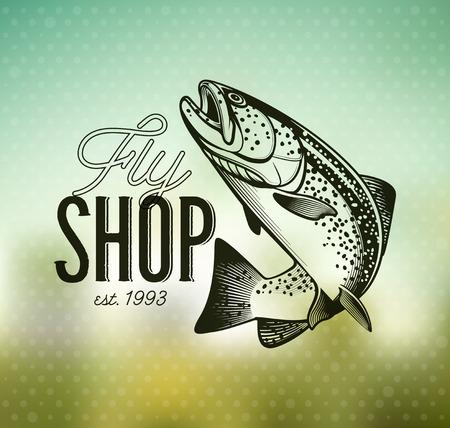 Forelle-Fischen-Emblem auf Unschärfe Hintergrund. Vektor-Illustration. Vektorgrafik