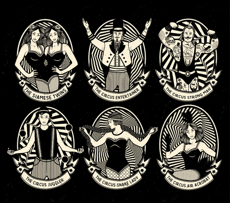 Circus set. Monochrome iconen collectie. Vector illustratie. Illustratie van circus sterren.