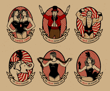 Circus set. Monochrome icons collection. Vector illustration. Illustration of circus stars. 向量圖像