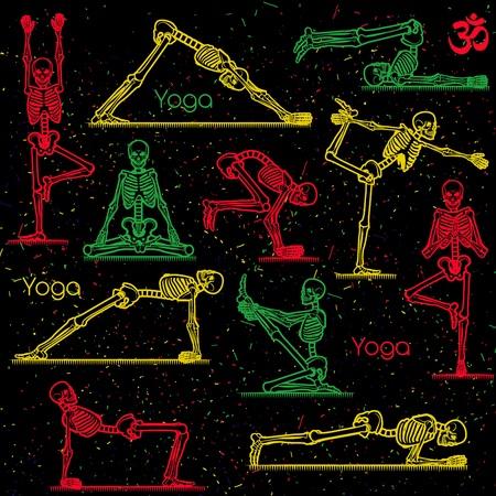 Patrón sin fisuras con el yoga esquelético. Ilustración del vector.