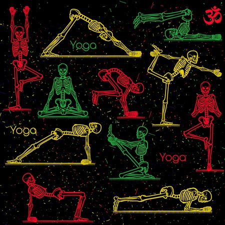 Seamless pattern with skeletal yoga. Vector illustration. Illustration