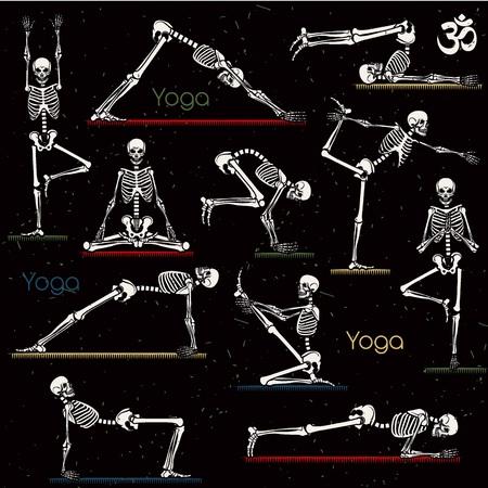 Naadloos patroon met skelet yoga. Vector illustratie.