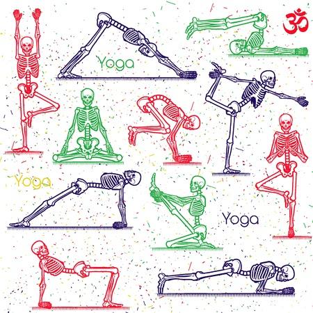 Seamless pattern with skeletal yoga. Vector illustration. Ilustracje wektorowe