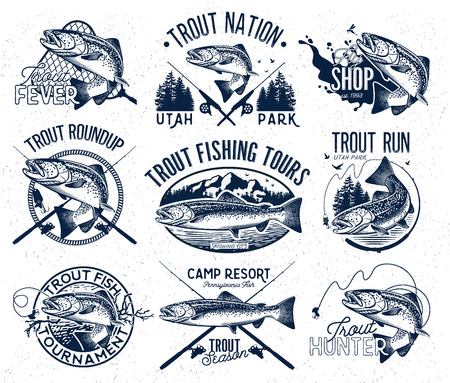 rainbow trout: Set of vector fishing emblem with trout