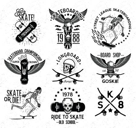 Set of skateboarding labels and badges. Vector illustration.