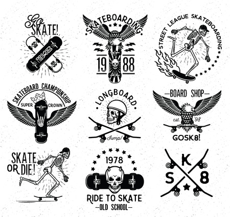 Set of skateboarding labels and badges. Vector illustration.