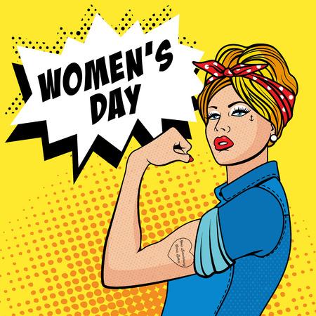 actitud: Feliz Día de la Mujer - 8 de marzo. La chica de la fábrica con el bíceps, el arte pop cómics de semitono estilo retro. Imitación de viejas ilustraciones.