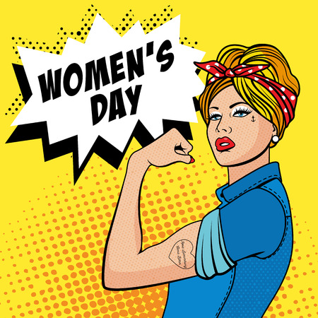 strong men: Happy Womens Day - 8 March. The Factory Girl with biceps, pop art comics retro style Halftone. Imitation of old illustrations. Illustration