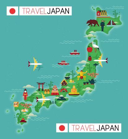 Japan landmark en reizen kaart. Platte design elementen en pictogrammen. vector illustratie Stockfoto - 55003827