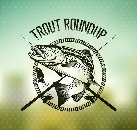 Trout Fishing embleem op wazige achtergrond. Vector illustratie. Vector Illustratie