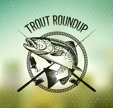 Trout Fishing emblem on blur background. Vector illustration.