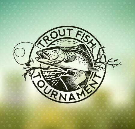 rainbow trout: Trout Fishing emblem on blur background. Vector illustration. Illustration