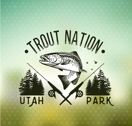 rainbow trout: Trout Fishing emblem on blur background. Vector illustration. Illustration