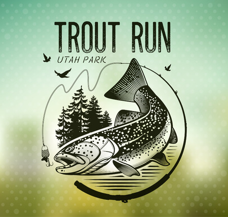 Trout Fishing emblem on blur background. Vector illustration. Çizim