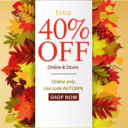 Vector fall sale poster illustration with colorful leafs