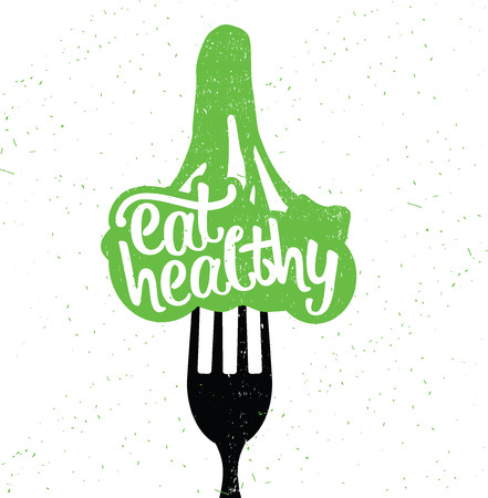 eat healthy: Hand Drawn Typography Poster. Inspirational Vector Typography. Eat Healthy.