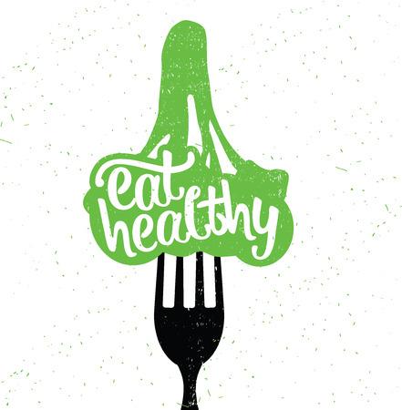 eten: Hand Getrokken Typografie Poster. Inspirational Vector Typografie. Eet gezond.
