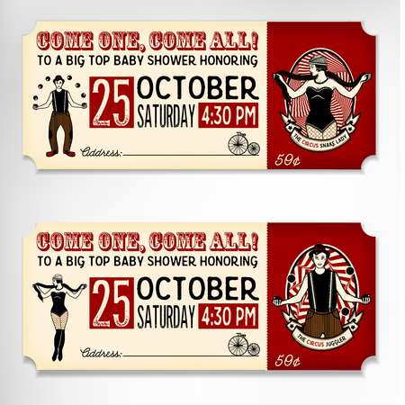 Circus gesetzt. Weinlese-Zirkus Ticket. Vektor-Illustration. Illustration von Zirkusstars.
