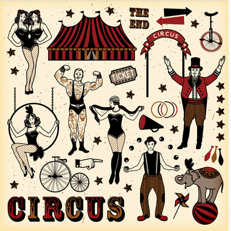 Circus set.  Vintage Circus Set. Vector illustration. Illustration of circus stars.