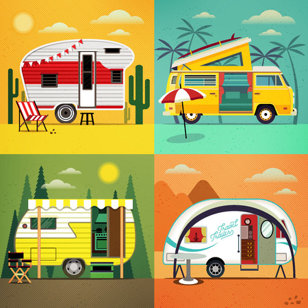 eco tourism: Set of Travel Caravans with different  landscapes. Illustration