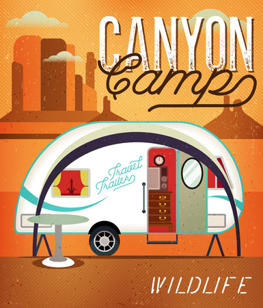 caravans: Vintage Travel Poster with Travel Trailer on Canyon. Vector illustration.