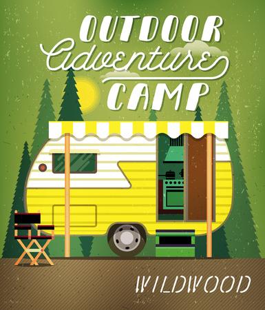 caravans: Vintage Travel Poster with Travel Trailer on Forest. Vector illustration. Illustration