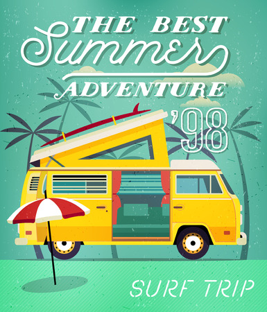 caravans: Vintage Travel Poster with Travel Trailer on Beach. Vector illustration.
