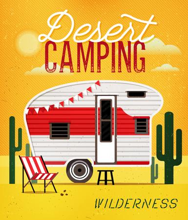 caravans: Vintage Travel Poster with Travel Trailer on Desert. Vector illustration.