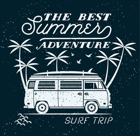 beach party: Vector Summer surfing retro badge. Beach surfer emblem , outdoors banner, vintage background. Boards, retro car. Surf icon design. For summer surf Logotype, label, party brochure.