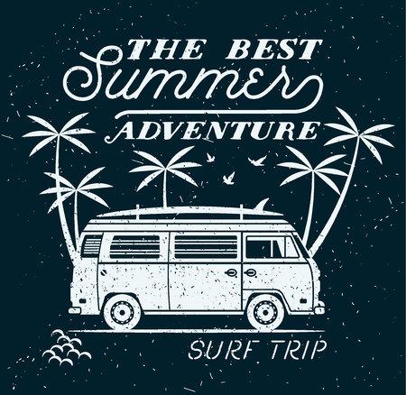 surfing waves: Vector Summer surfing retro badge. Beach surfer emblem , outdoors banner, vintage background. Boards, retro car. Surf icon design. For summer surf Logotype, label, party brochure.