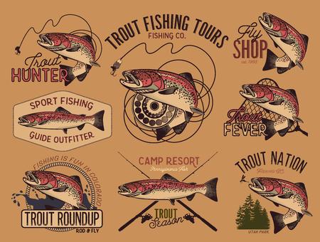Set van vector vissen embleem met forel