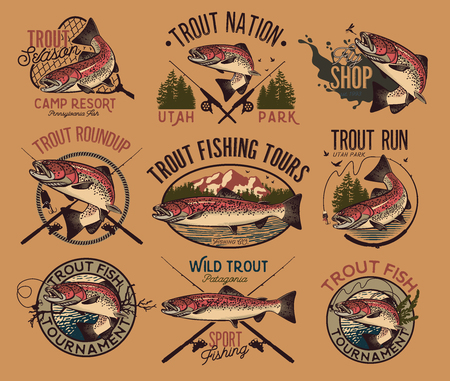 Set of vector fishing emblem with trout