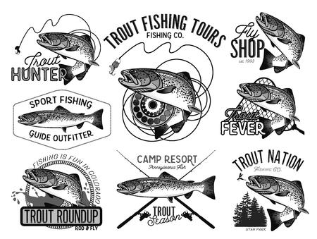 Conjunto de emblema de la pesca del vector con la trucha Foto de archivo - 55729874
