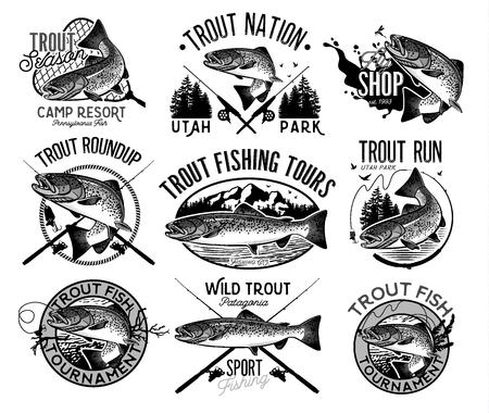 truchas: Conjunto de emblema de la pesca del vector con la trucha
