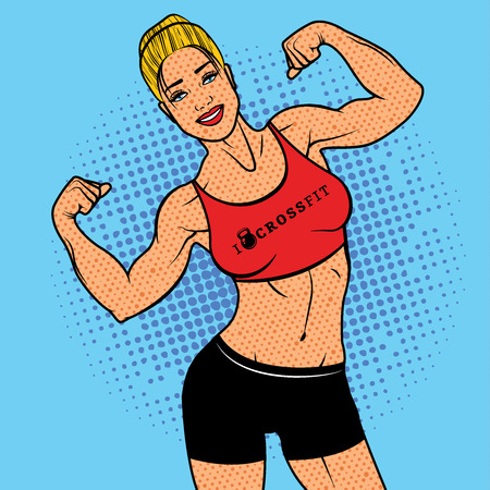 strong women: The Strong Woman with biceps, pop art comics retro style Halftone. Imitation of old illustrations. Fitness Woman, Sport concept.
