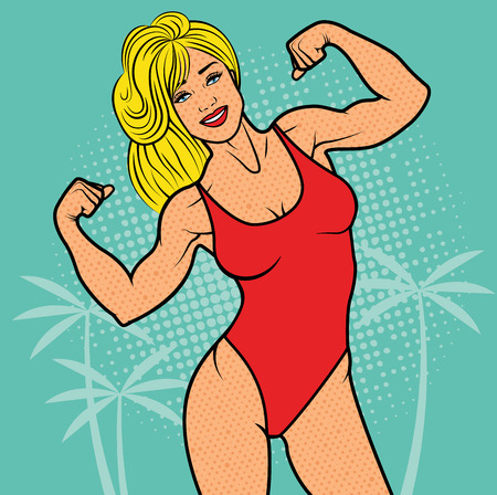 malibu: Baywatch Woman with biceps, pop art comics retro style Halftone. Imitation of old illustrations. Fitness Woman, Sport concept. Illustration