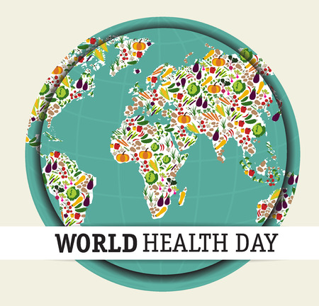 Nutrition food for healthy life, world health day concept. Cartoon world map.