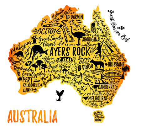 Australia map with landscape and animal. Vector illustration. Typography poster.