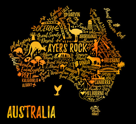 風景と動物とオーストラリアの地図。ベクトルの図。タイポグラフィ ポスター。