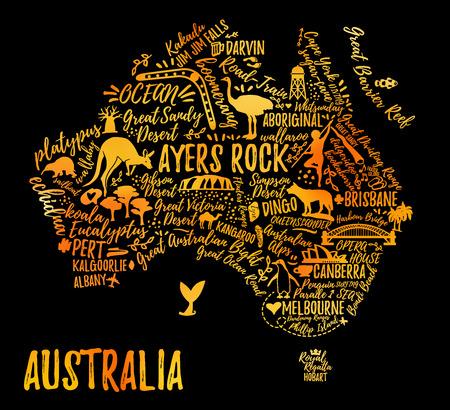 호주는 풍경과 동물에 매핑합니다. 벡터 일러스트 레이 션. 타이포그래피 포스터입니다.