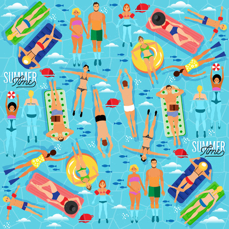 vacation summer: Summer Sea Vacation Illustration. Vector Seamless Pattern.