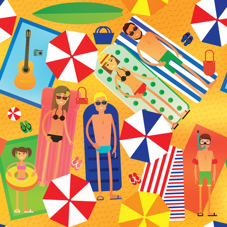 towel: Summer Sea Vacation Illustration. Vector Seamless Pattern.