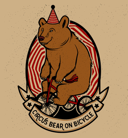 The Circus Bear on Bicycle. Vector illustration. Illustration