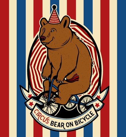 The Circus Bear on Bicycle. Vector illustration.
