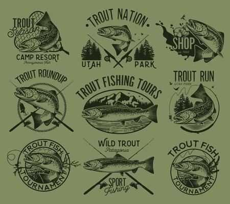 Set of vector fishing emblem with trout Vektorové ilustrace