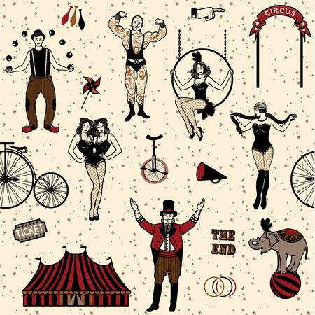 Circus gesetzt. Farbenfrohes Icons Sammlung. Vektor-Illustration. Illustration von Zirkusstars.
