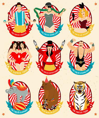hombre fuerte: El hombre fuerte, los gemelos siameses, el Circo del actor, el aire del circo del acróbata, la serpiente de la señora, el elefante, el oso del circo en la bicicleta, el tigre de circo.