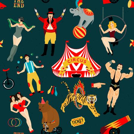 Patrón sin fisuras Circo. colección llena de color. Ilustración del vector. Ilustración de estrellas de circo.
